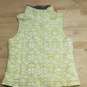 Zella girl lime green vest with fleece collar